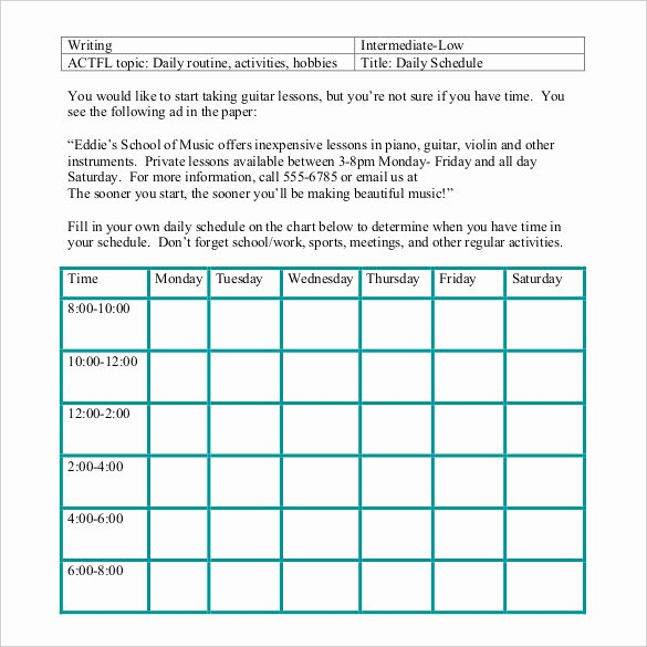 Free Daily Schedule Template Fresh Daily Schedule Template 37 Free Word Excel Pdf