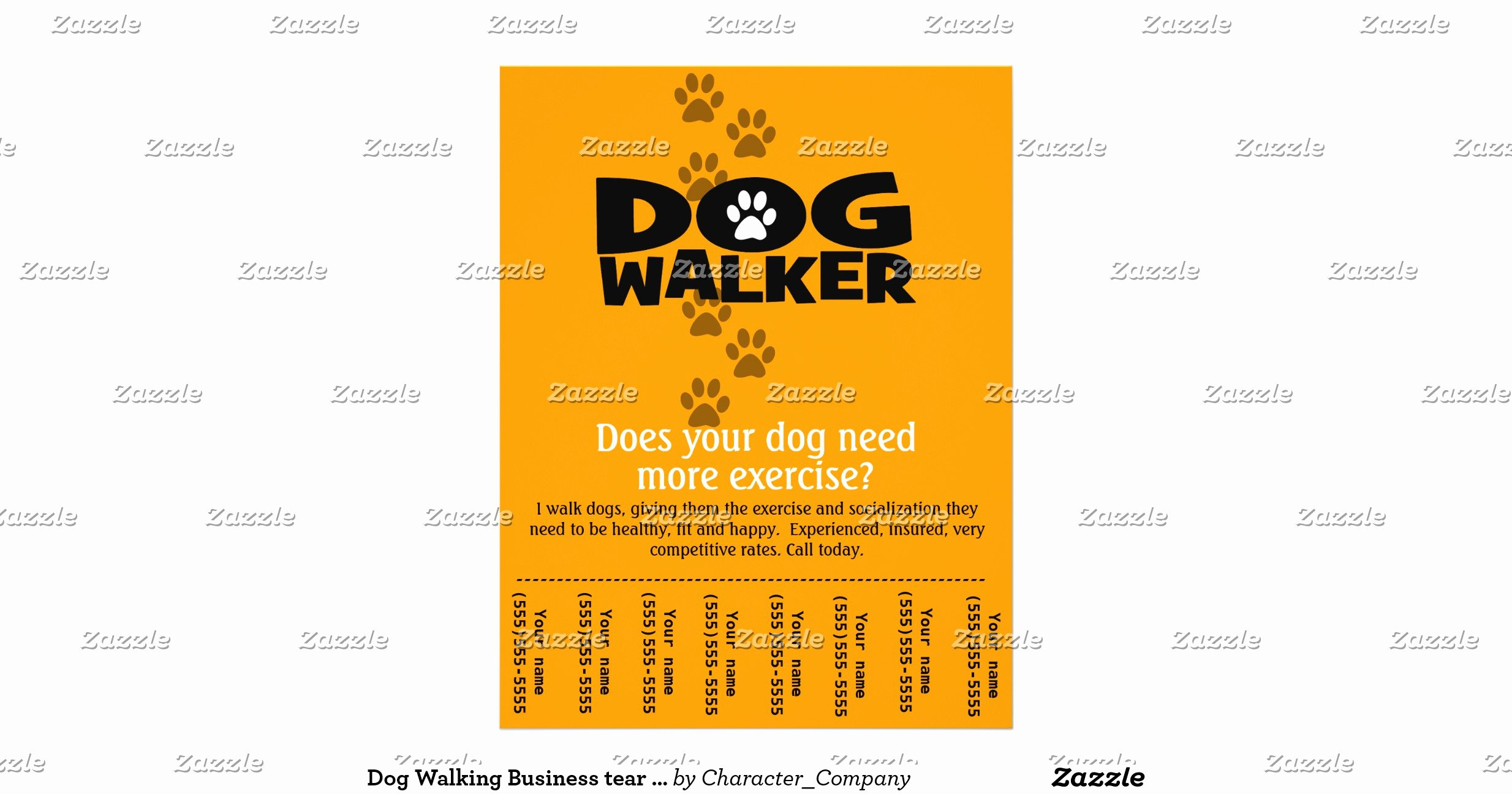 Free Dog Walking Flyer Template Awesome Dog Walking Business Tear Sheet Flyer Template