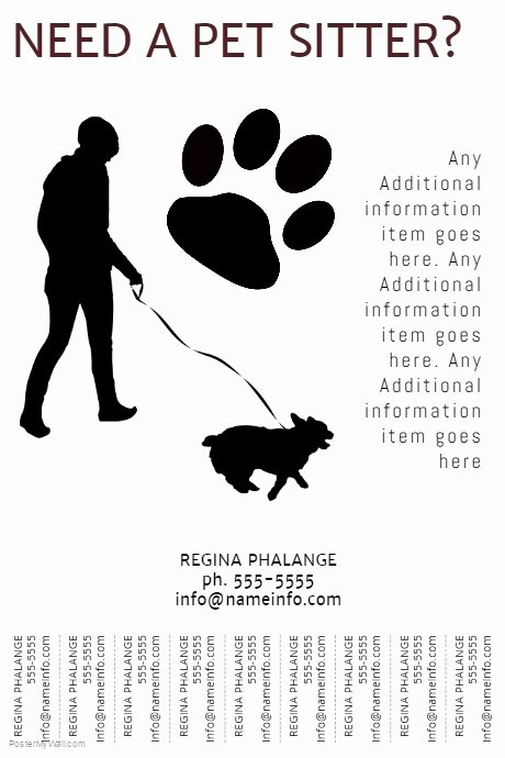 Free Dog Walking Flyer Template Awesome Printable Pet Sitter Flyer Template with Tear Off Tabs