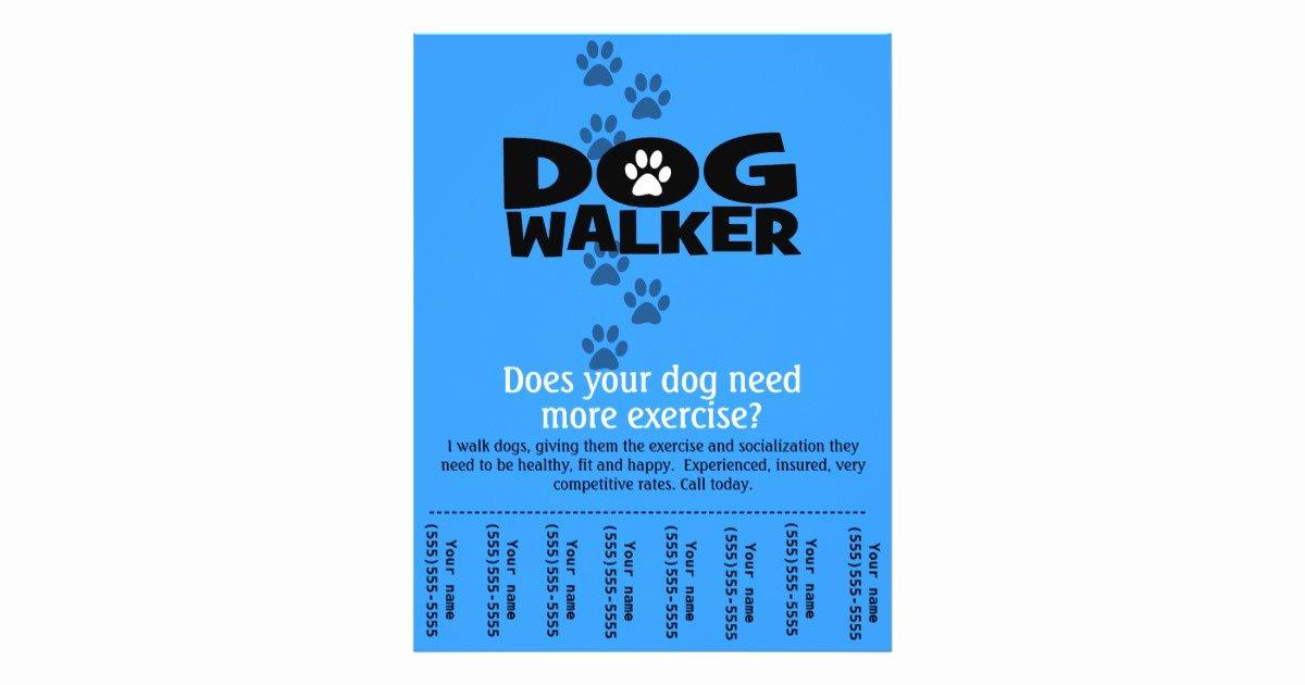 Free Dog Walking Flyer Template Beautiful Dog Walker Promotional Tear Sheet Flyer Template B