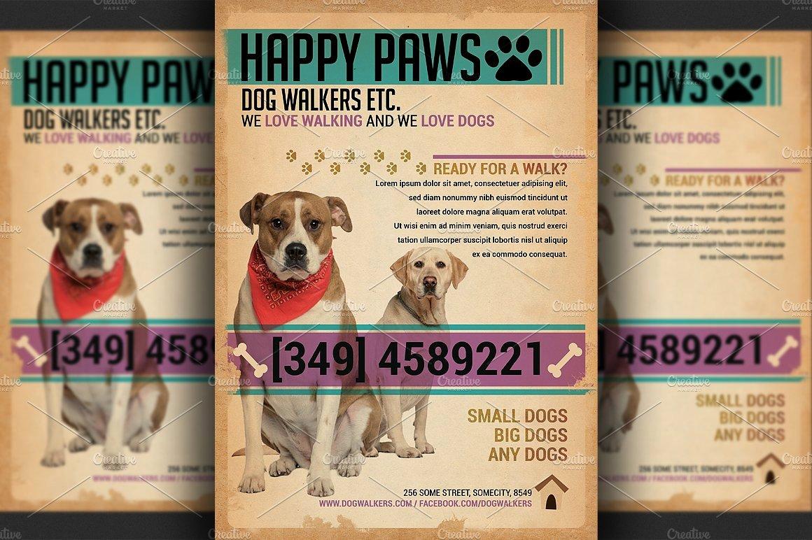 Free Dog Walking Flyer Template Best Of Dog Walkers Flyer Template Flyer Templates Creative Market