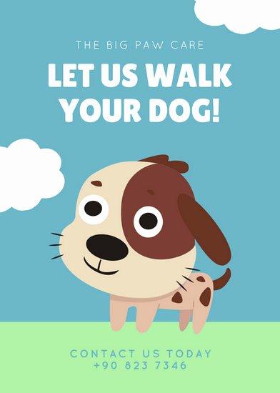 Free Dog Walking Flyer Template Luxury Blue Green Cute Illustrated Dog Walker Flyer Templates