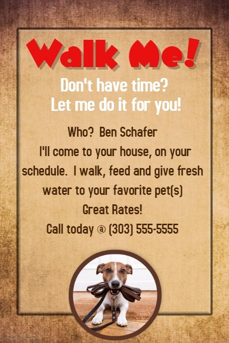 Free Dog Walking Flyer Template Unique Dog Walker Groomer Pet Sitter Flyer Poster Announcement