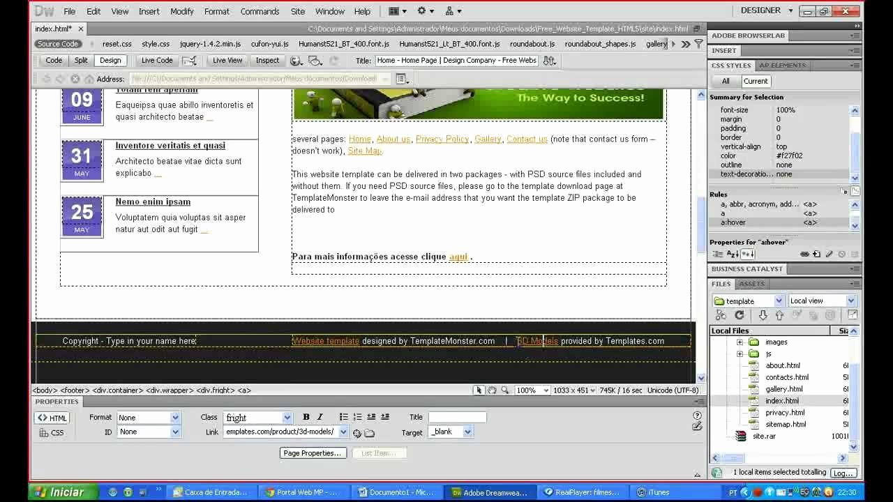 Free Dreamweaver Templates Cs5 New Editando Um Template No Dreamweaver Cs5 Iniciante