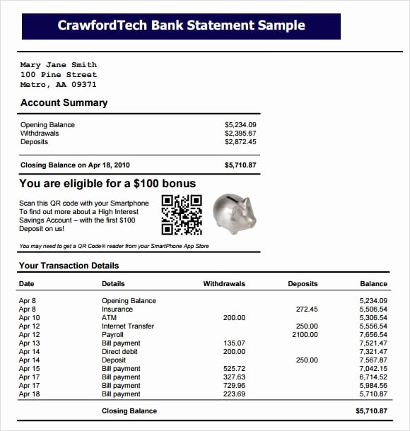 Free Fake Bank Statement Lovely 9 Free Bank Statement Templates Word Excel Sheet Pdf