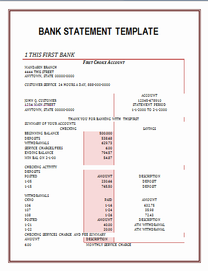 Free Fake Bank Statement New Printable Bank Statement format