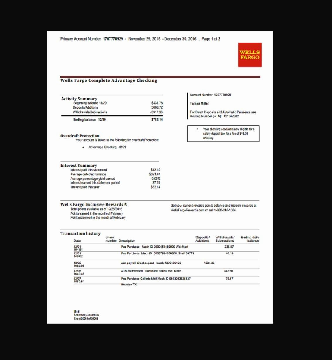 Free Fake Bank Statement Template Elegant Create Fake Bank Statement Pdf with Plus Wells Fargo