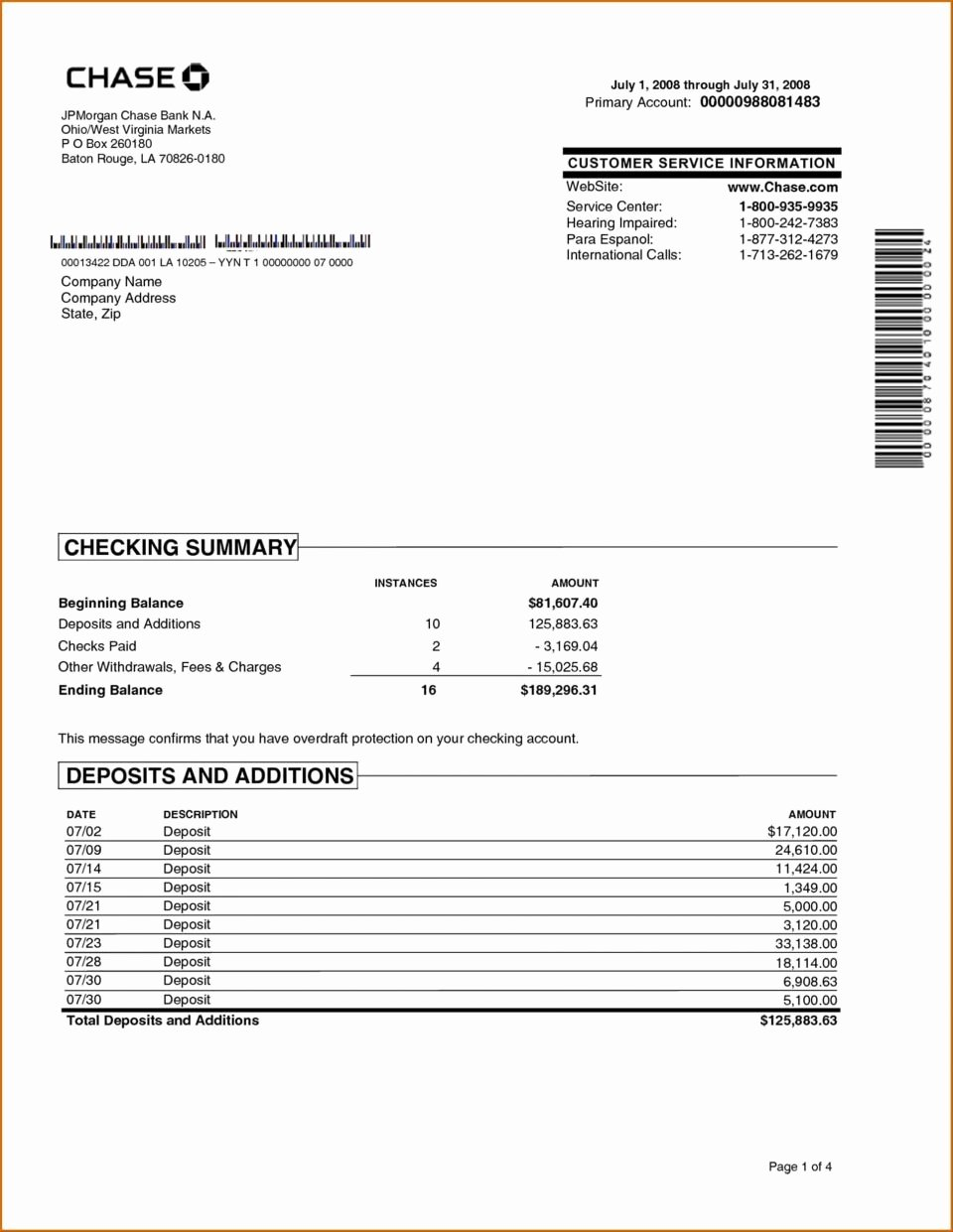 Free Fake Bank Statement Template Luxury Chase Bank Statement Template Download Free Editable Pdf