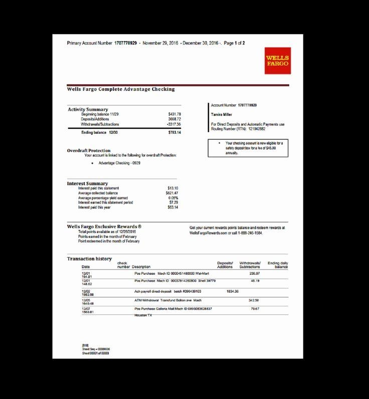 Free Fake Bank Statements Templates Fresh Bank Statement Wells Fargo Fake Documents