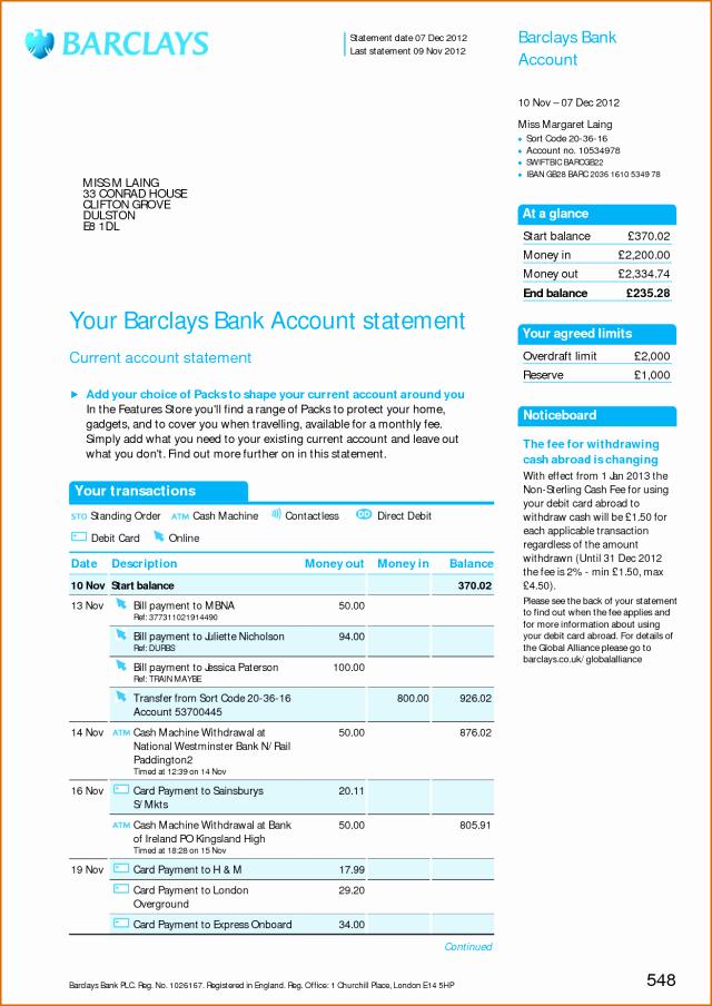 Free Fake Bank Statements Templates Luxury Free Bank Statement Template Free Download Aashe
