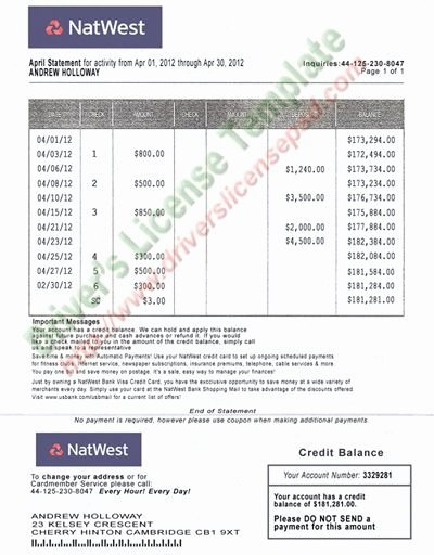 Free Fake Bank Statements Templates New Natwest Bank Statement Psd Fake Documents