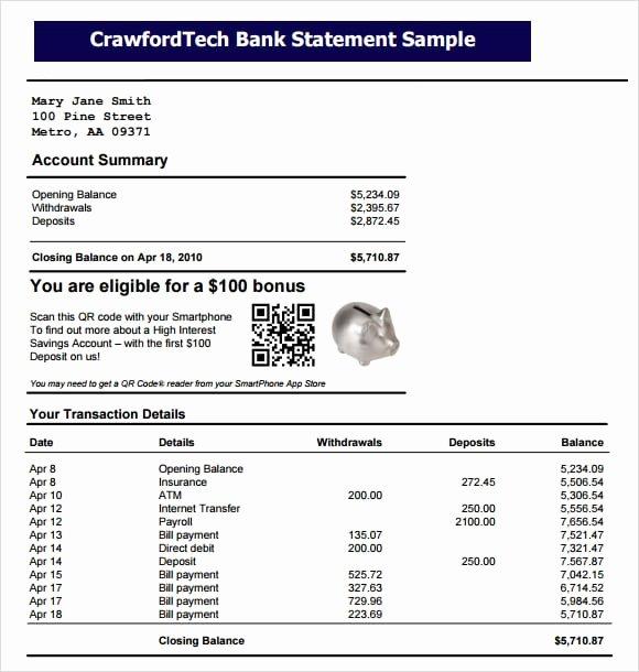 Free Fake Bank Statements Templates Unique 9 Free Bank Statement Templates Word Excel Sheet Pdf