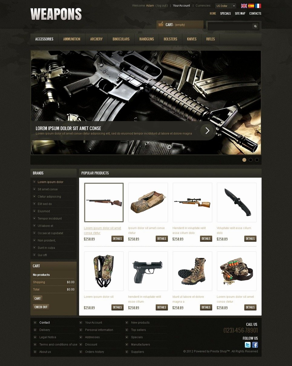 Free Firearms Website Templates Beautiful Weapons & Cold Steel Prestashop theme