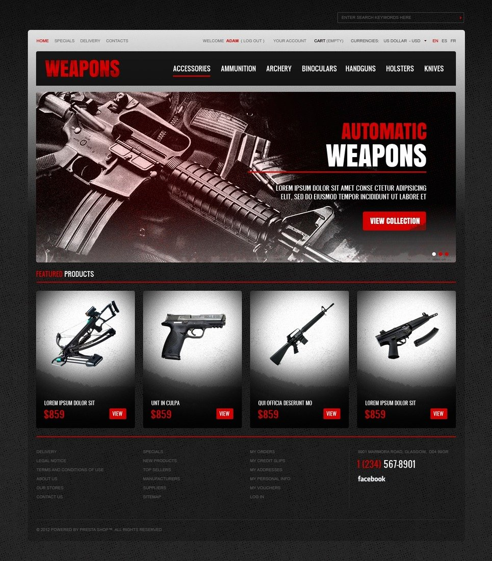 Free Firearms Website Templates Fresh Weapons Store Prestashop theme