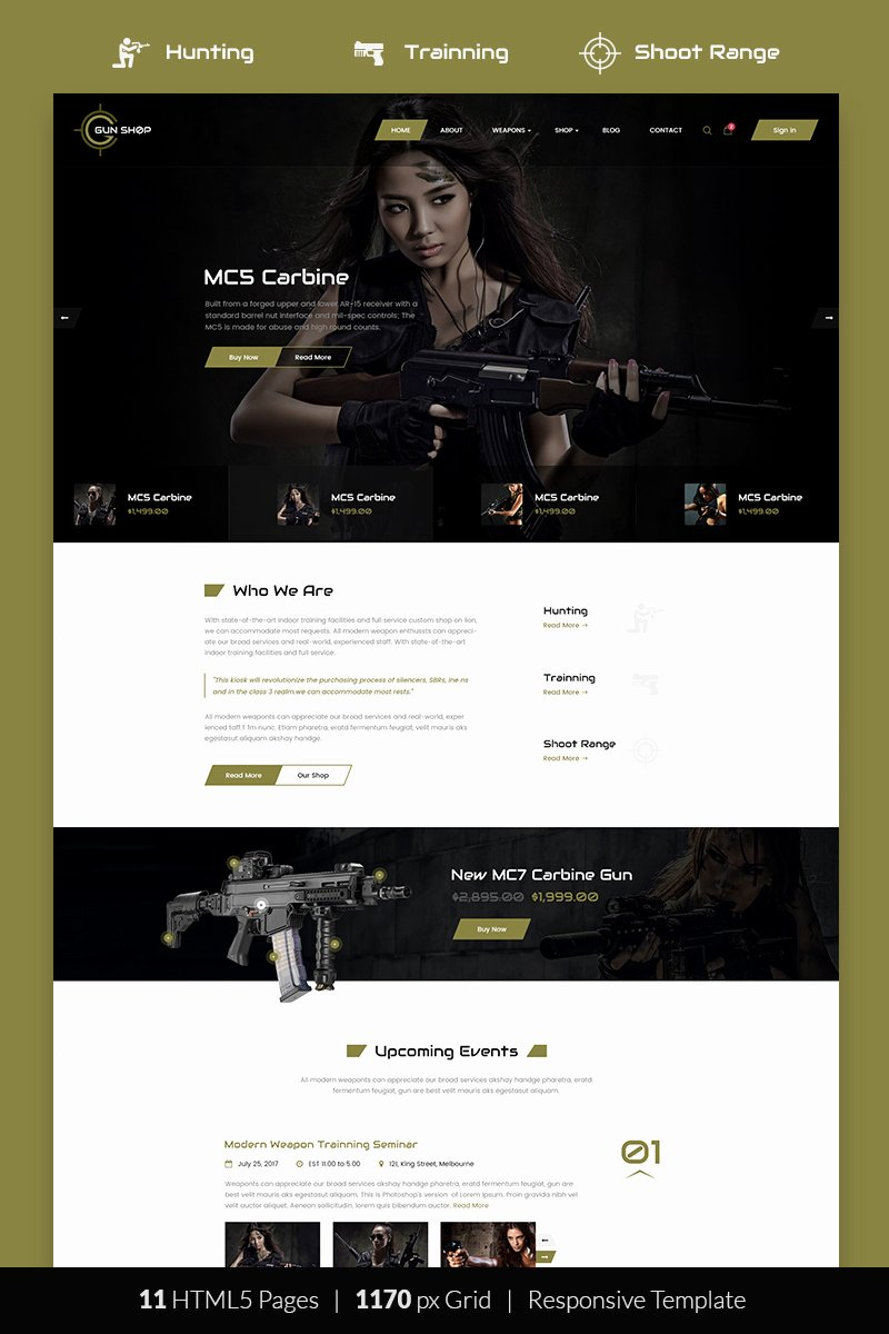 Free Firearms Website Templates Luxury Gun Shop HTML Template Website Template