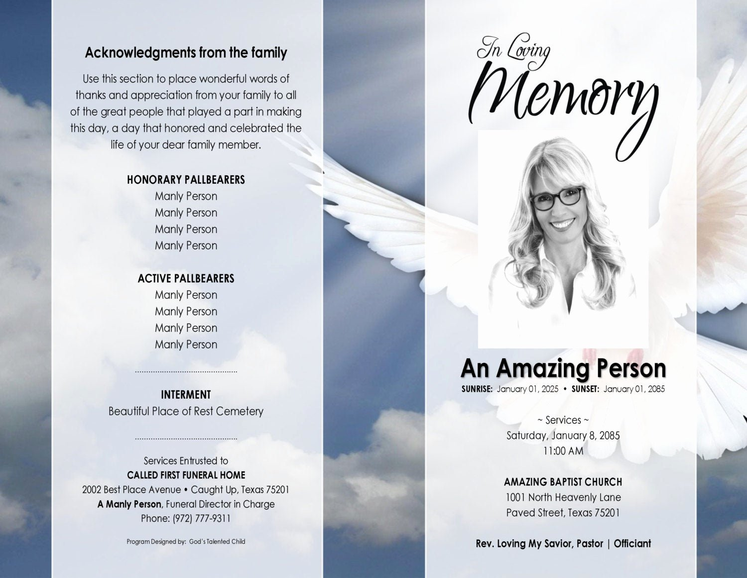 Free Funeral Program Template Word Elegant 11x17 Heavenly Dove Printable Funeral Program