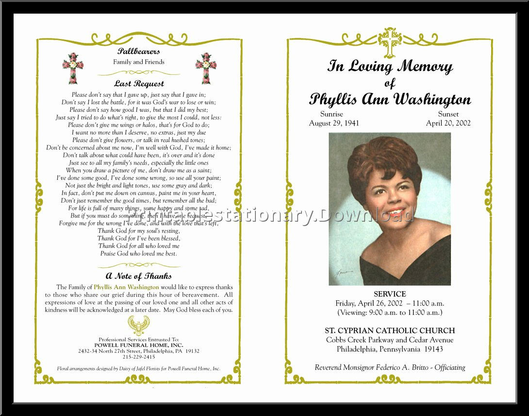 Free Funeral Program Template Word Fresh Free Funeral Program Template