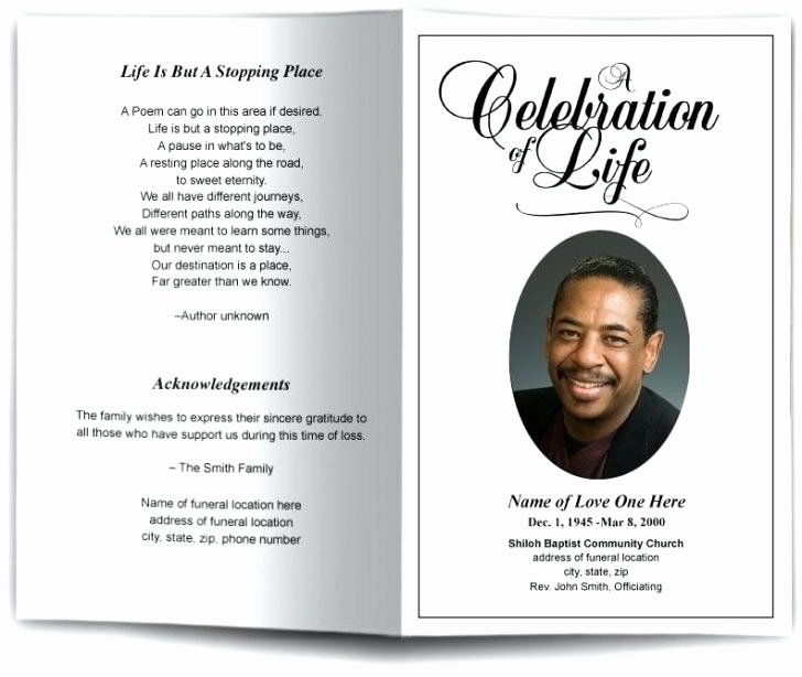 Free Funeral Program Template Word Inspirational Free Celebration Life Templates