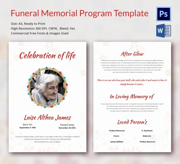 Free Funeral Program Template Word Luxury Funeral Program Template 16 Word Psd Document Download