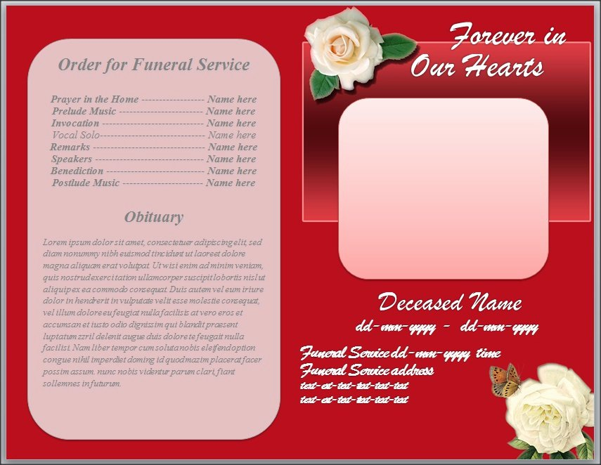 Free Funeral Program Template Word Unique White Rose Funeral Program Template Word by Sammbither On