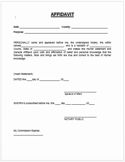 Free General Affidavit form Download Beautiful Affidavit form Microsoft Word Templates