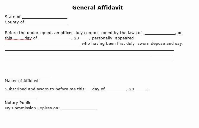 Free General Affidavit form Download Lovely Free General Affidavit form Pdf Template