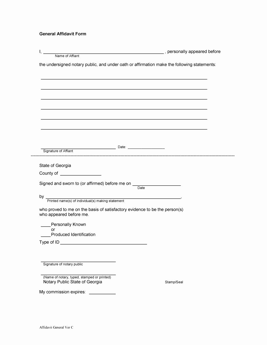 Free General Affidavit form Download New 14 15 Personal Affidavit Sample