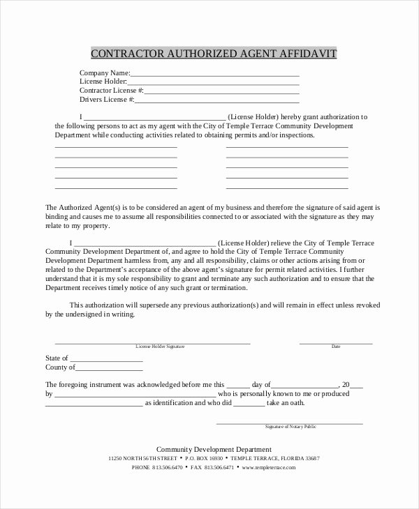 Free General Affidavit form Download New 9 Contractor Affidavit form Sample Free Sample Example