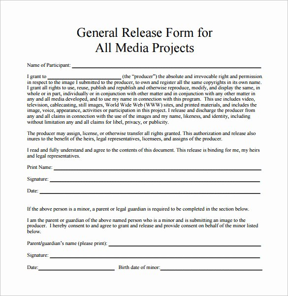 Free General Release form Template Best Of 10 Sample General Release forms to Download