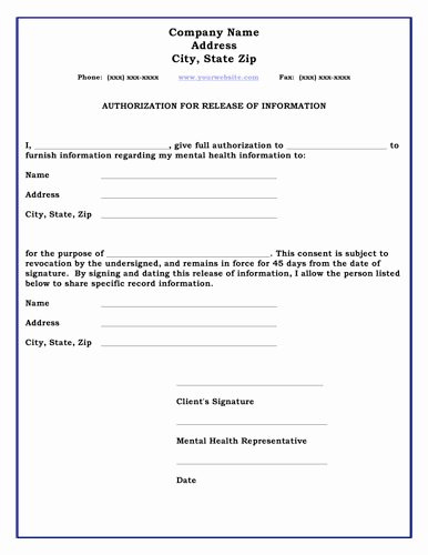 Free General Release form Template Best Of 26 Of Standard Medical Authorization form Template