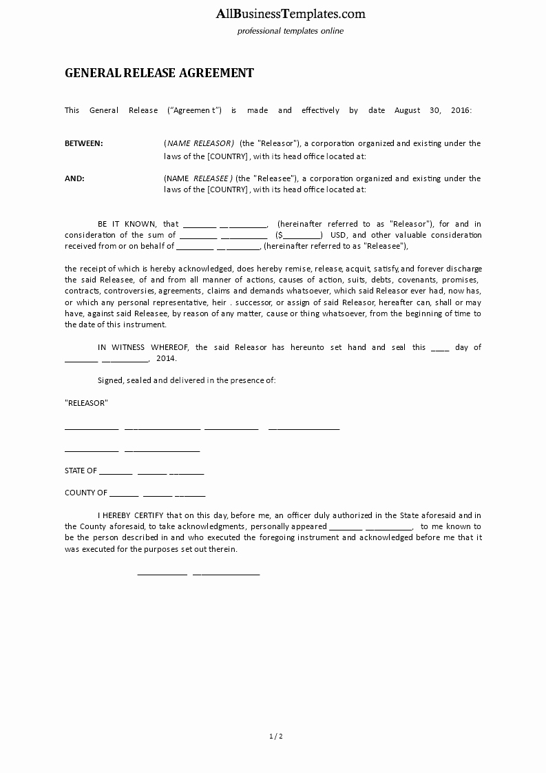 Free General Release form Template Inspirational Free General Release form