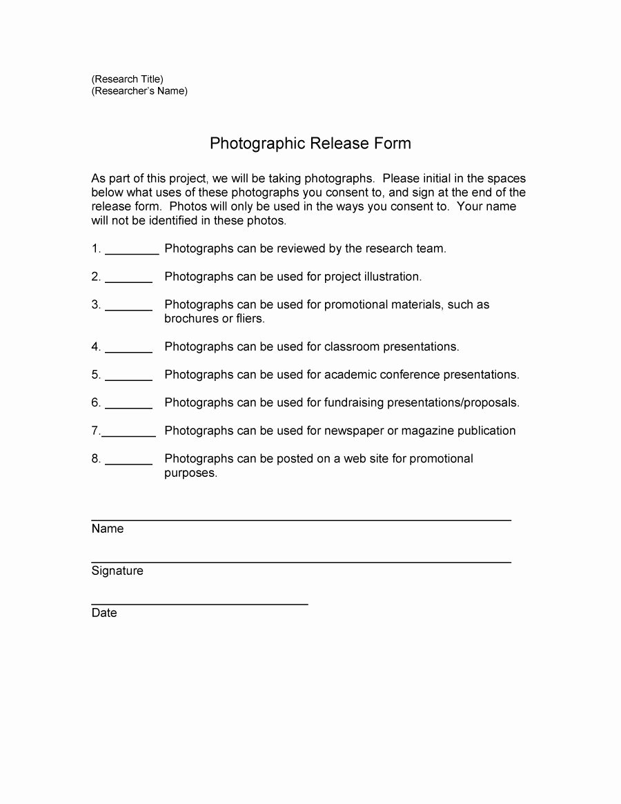 Free General Release form Template New Release form Template Professional Data Uk Media Model