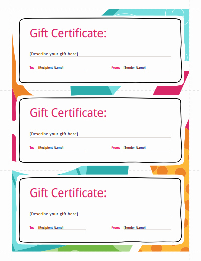 Free Gift Card Templates Inspirational Gift Certificate Template Free Download Create Fill