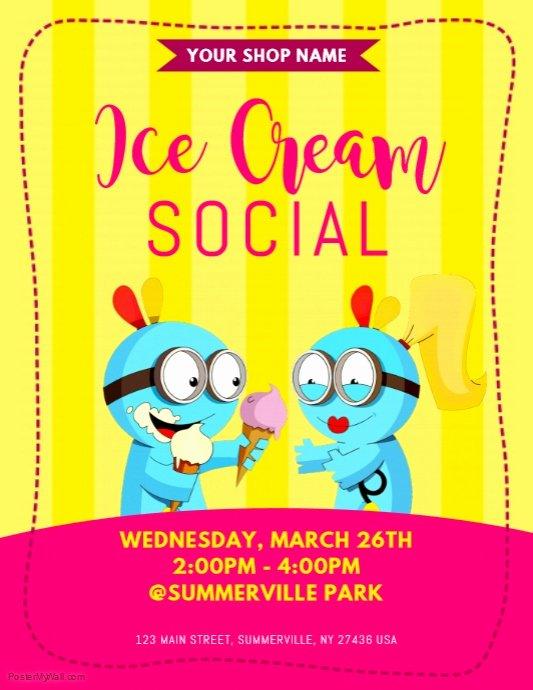 Free Ice Cream social Flyer Template Elegant Ice Cream social Flyer Template