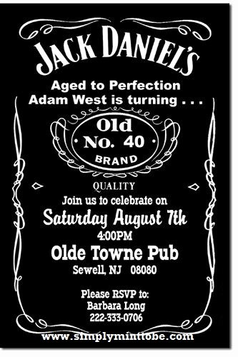 Free Jack Daniels Label Template Elegant Diy Jack Daniels Inspired 40th Birthday Invitation 4x6
