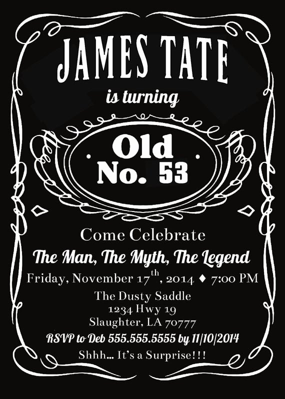 Free Jack Daniels Label Template Fresh Items Similar to Printable Jack Birthday Party Invitation