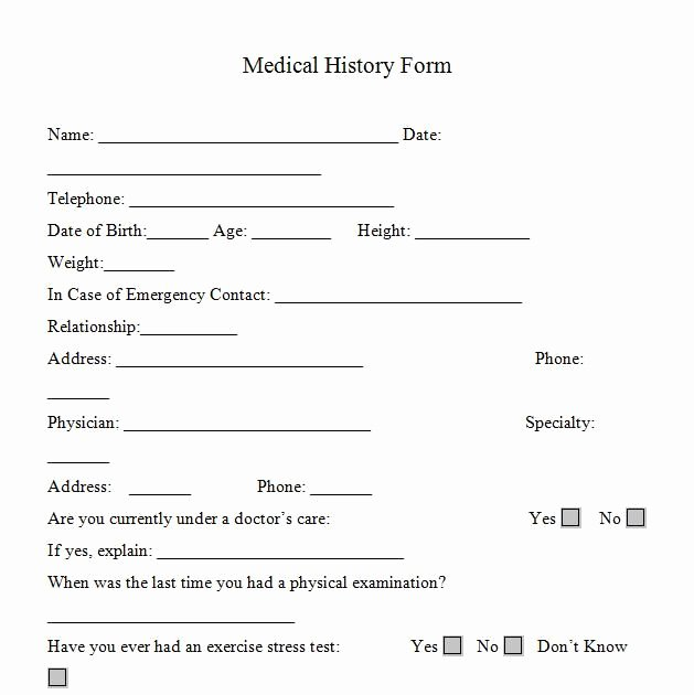 Free Medical History Questionnaire Template Fresh Printable Medicalhistory forms In Word and Pdf format