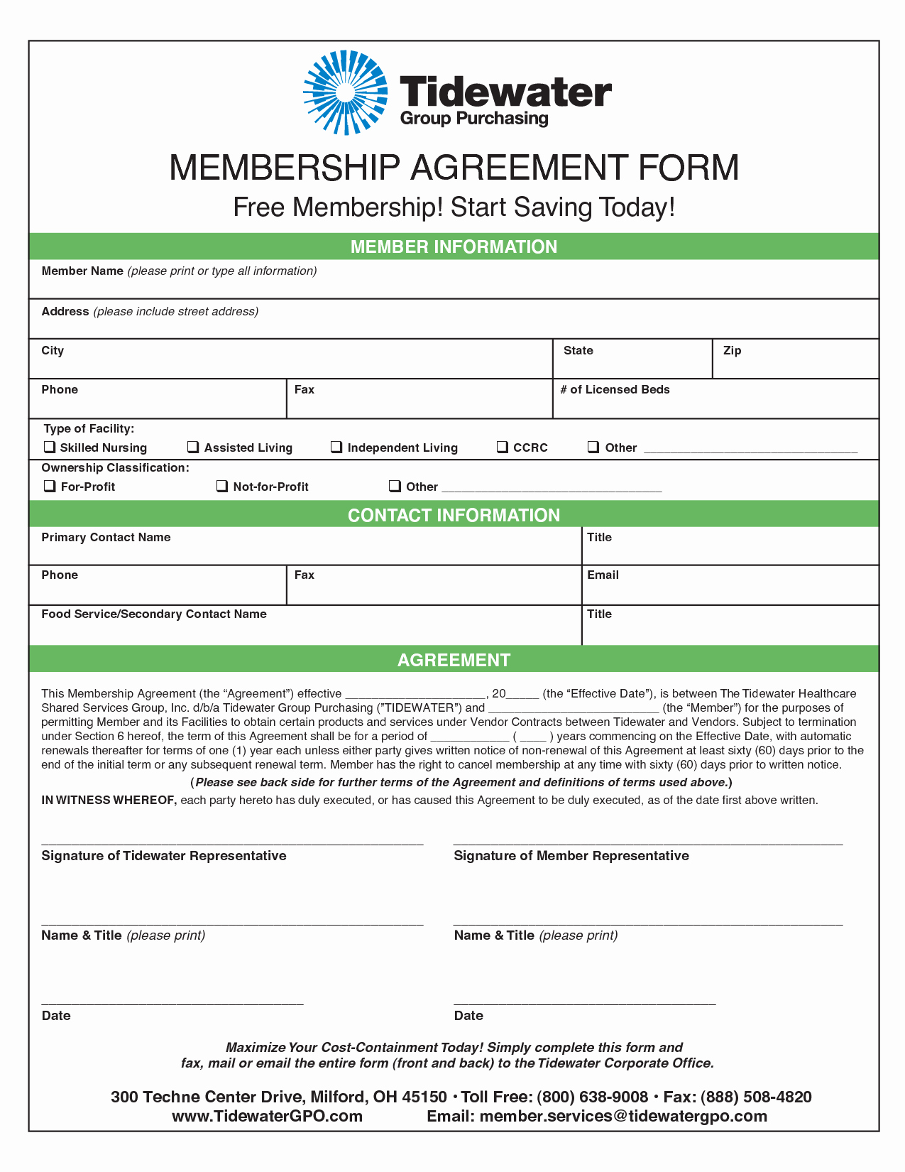 Free Membership Application Template Inspirational Membership Agreement