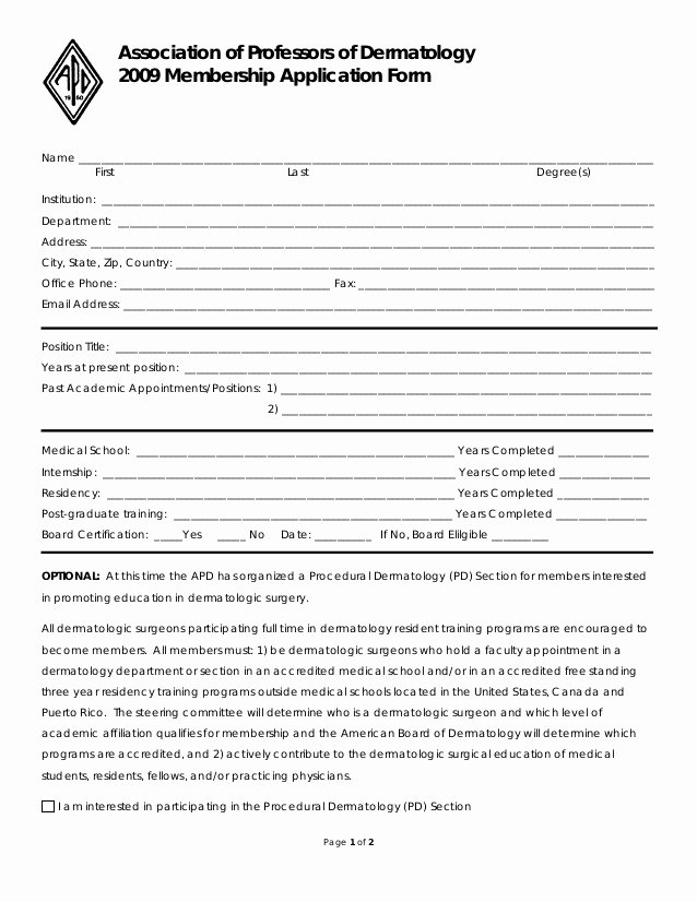 Free Membership Application Template New Microsoft Word Draft 2009 Membership Application form
