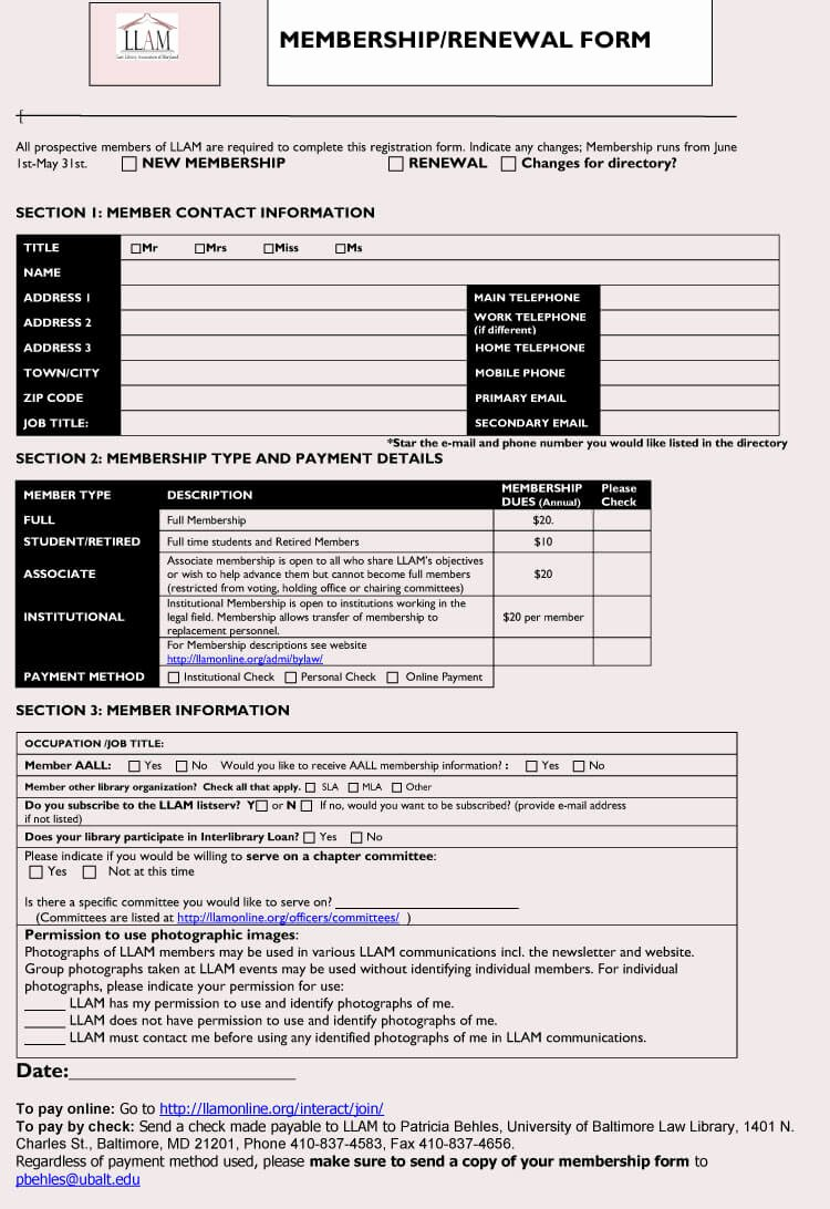 Free Membership Application Template Unique 6 Best Examples Of Membership Application forms with Free