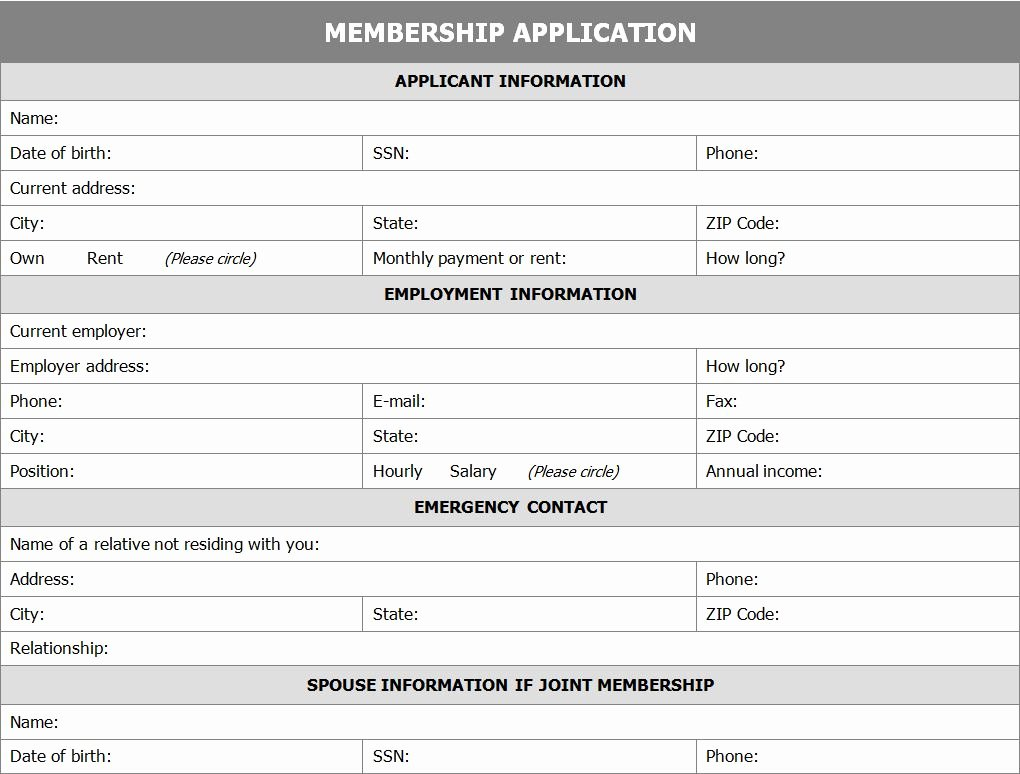 Free Membership Application Template Unique Membership Application form
