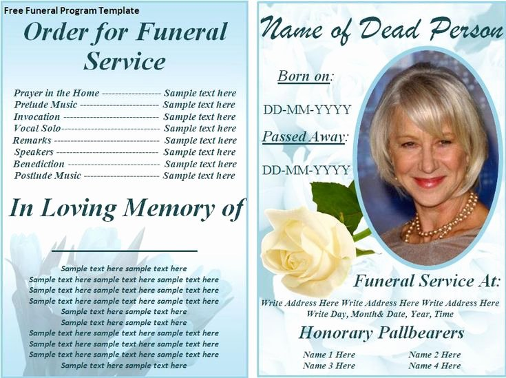 Free Memorial Card Template Fresh Free Funeral Program Templates