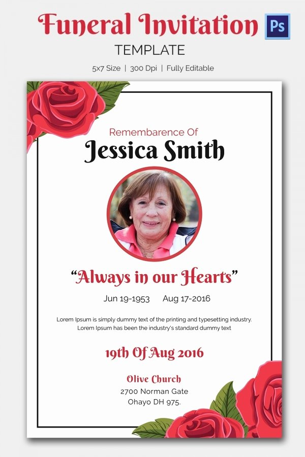 Free Memorial Card Template Lovely Funeral Invitation Template – 12 Free Psd Vector Eps Ai