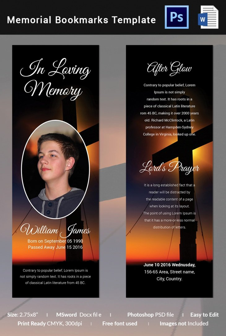 Free Memorial Card Template New 5 Memorial Bookmark Templates – Free Word Pdf Psd