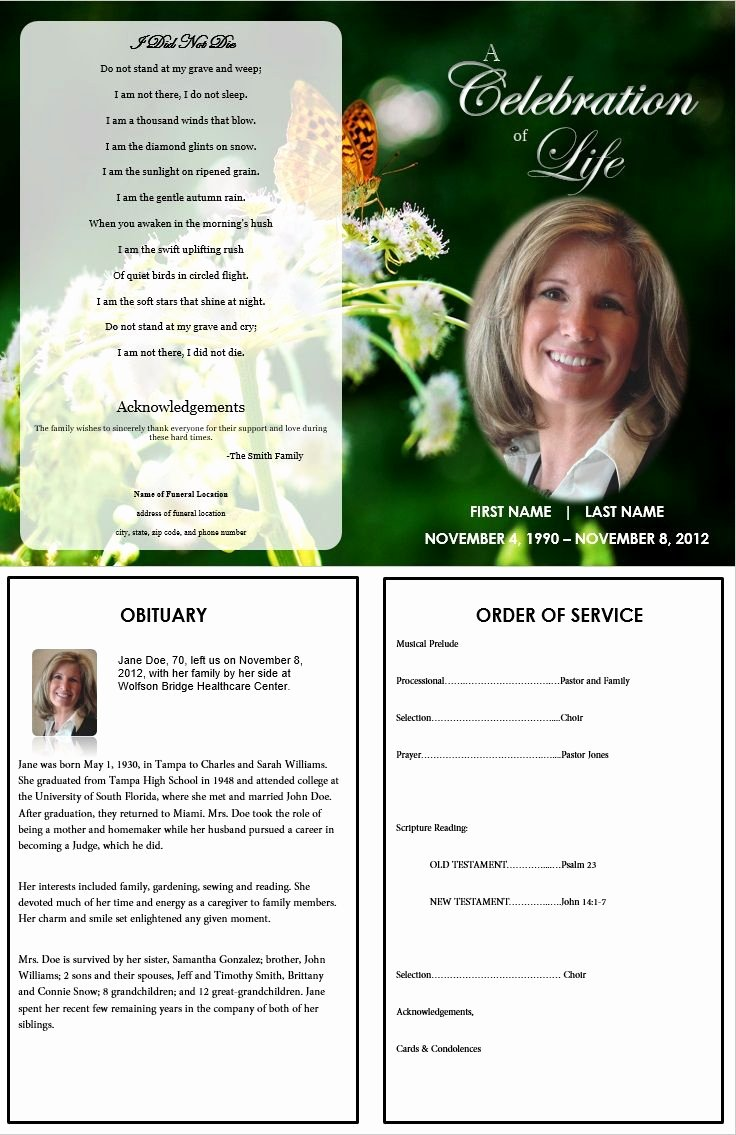 Free Memorial Cards Template Elegant 73 Best Images About Printable Funeral Program Templates