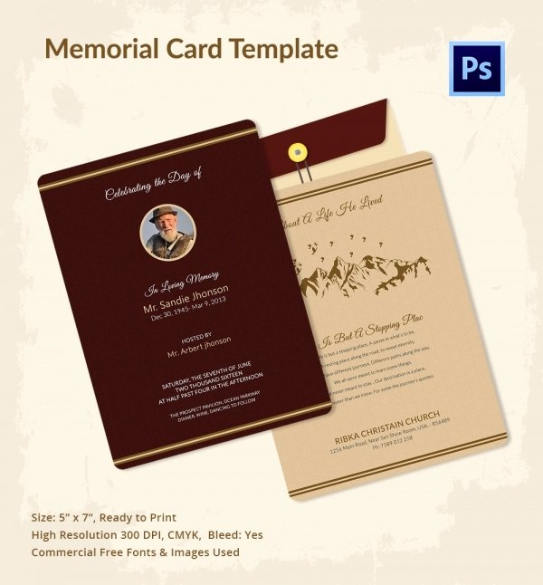 Free Memorial Cards Template Unique 21 Obituary Card Templates – Free Printable Word Excel