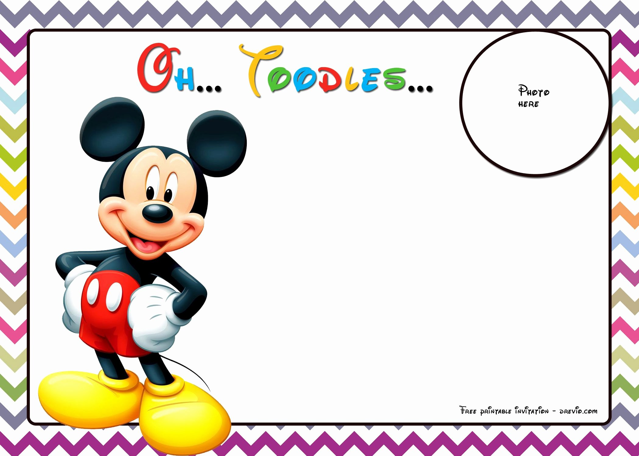 Free Mickey Mouse Template Elegant Free Mickey Mouse Birthday Invitations Template Chevron