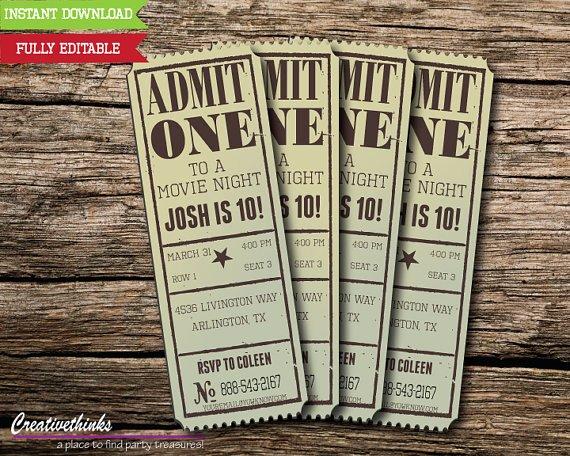 Free Movie Ticket Template for Word Beautiful Editable Vintage Movie Ticket Invitation Digital File
