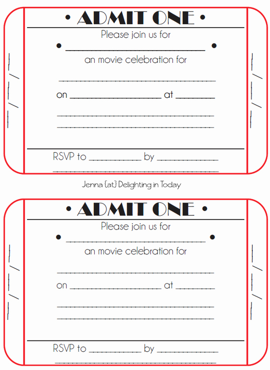 Free Movie Ticket Template for Word Beautiful Movie Ticket Birthday Invitations Free Printable