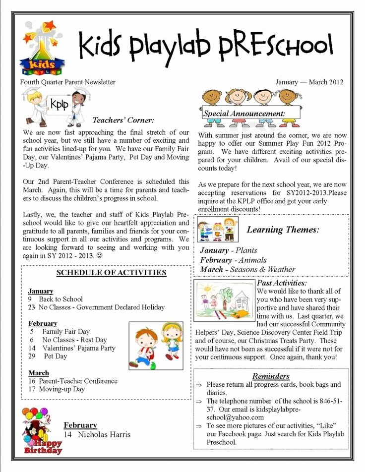 Free Newsletter Templates for Preschool Awesome Kids Playlab Preschool In Makati City Fourth Quarter
